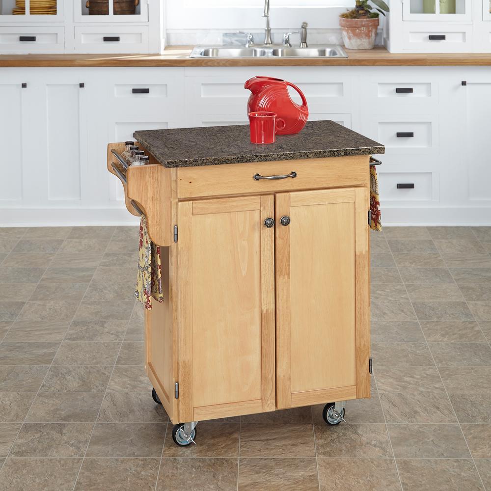 Home Styles Cuisine Cart Natural Kitchen Cart With Quartz