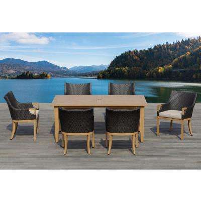 Marbella Dark Brown 7-Piece Aluminum Rectangle Outdoor Dining Set with Olefin Beige Cushions