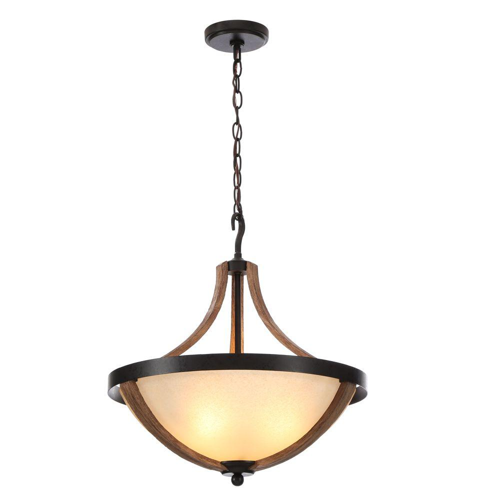 Hampton Bay Talo 3-Light Driftwood Bowl Pendant Light