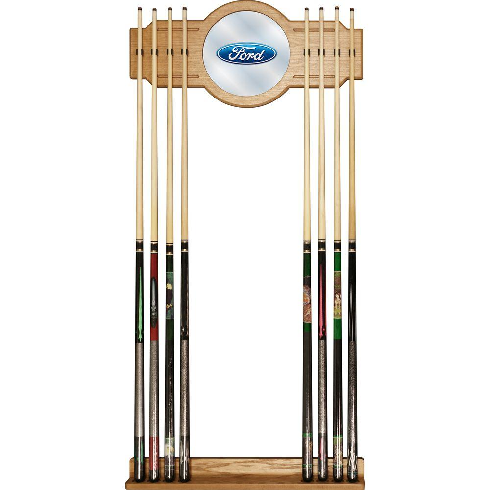 Trademark Global Ford Oval 30 in. Cue Rack with Mirror