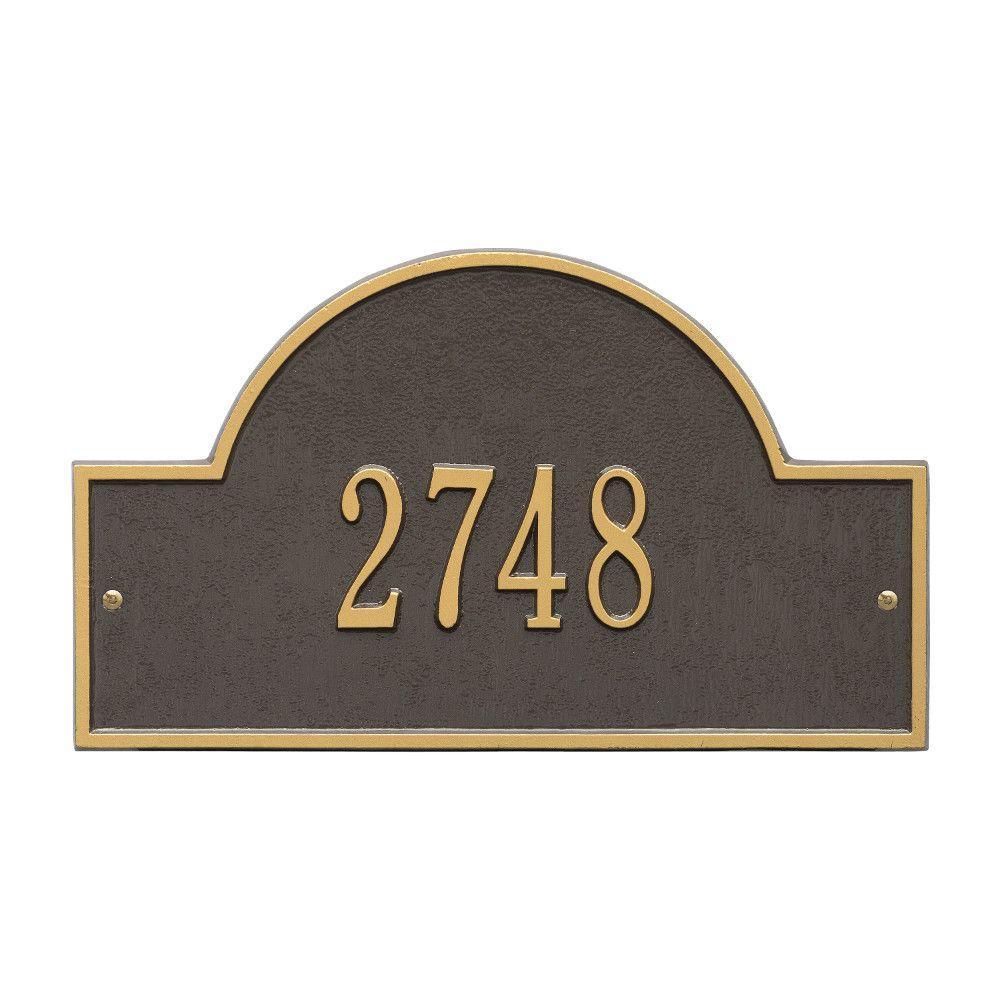 Arch Marker Standard Bronze/Gold Wall 1-Line Address Plaque