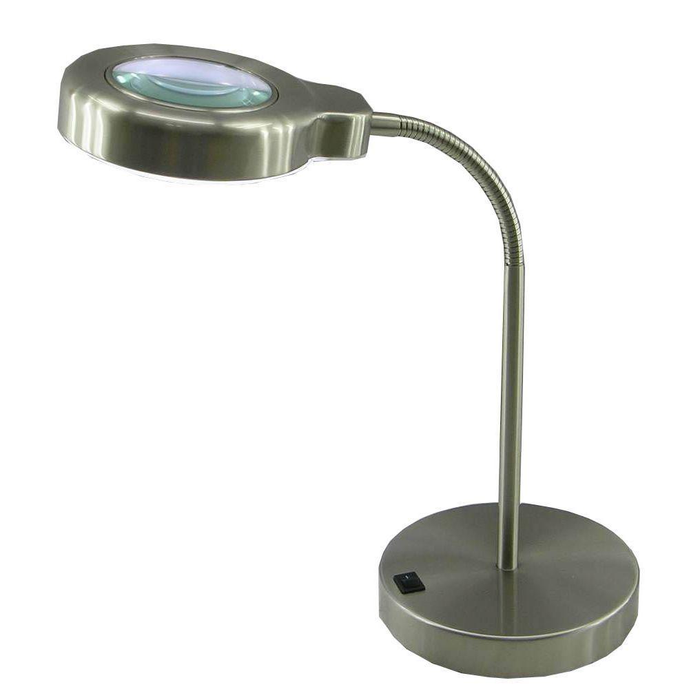 15 in. Brushed Steel Fluorescent Magnifier Desk Lamp