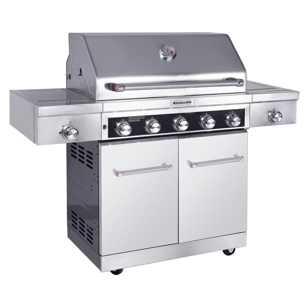 Kitchenaid 5 Burner Propane Gas Grill In Stainless Steel With Sear And Side Burners With Cover
