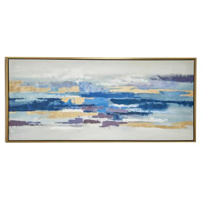 Blue and Gold Abstract Framed Canvas Wall Art
