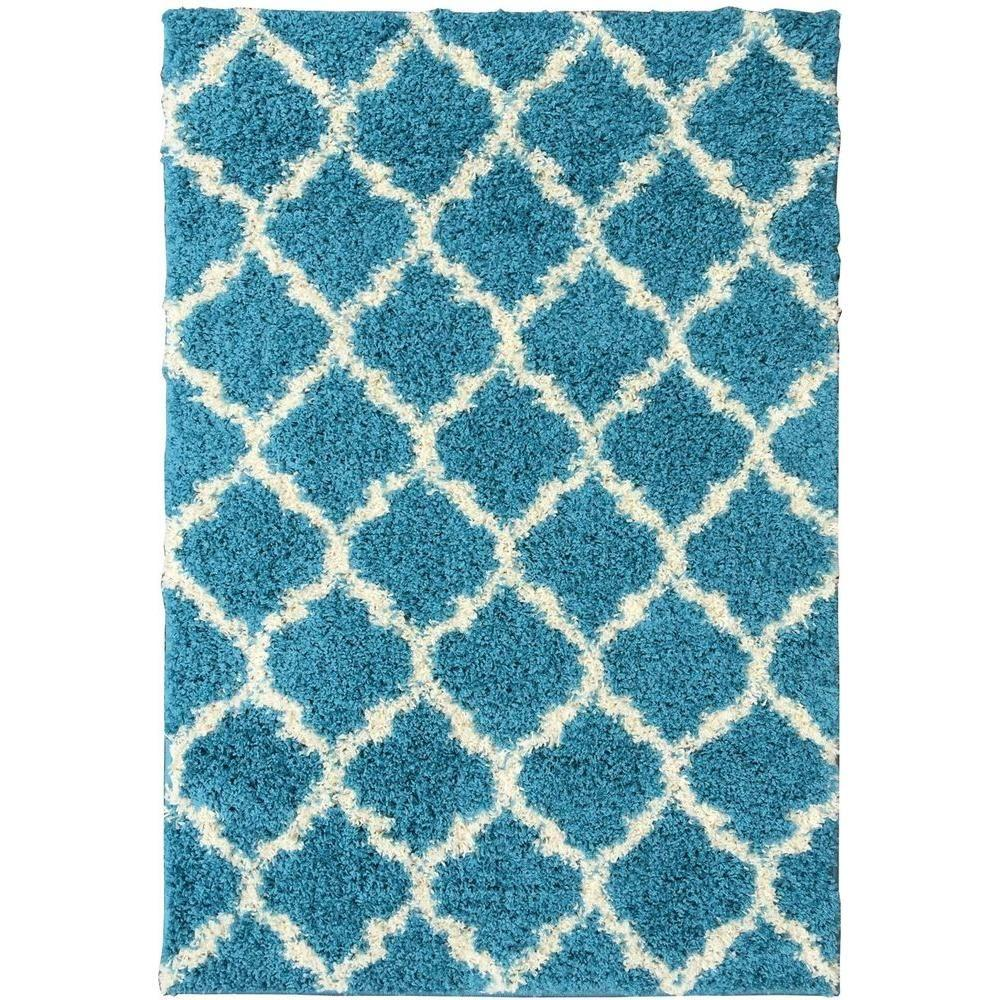 Berrnour Home Plush Moroccan Trellis Design Turquoise 8 Ft. X 10 Ft. Shag  Area