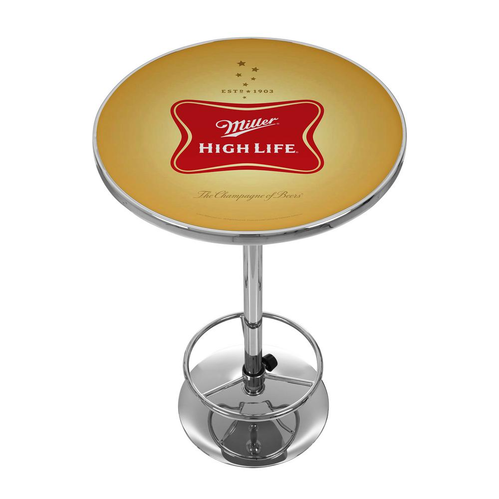 Miller High Life Chrome Pub/Bar Table, Multi-Colored