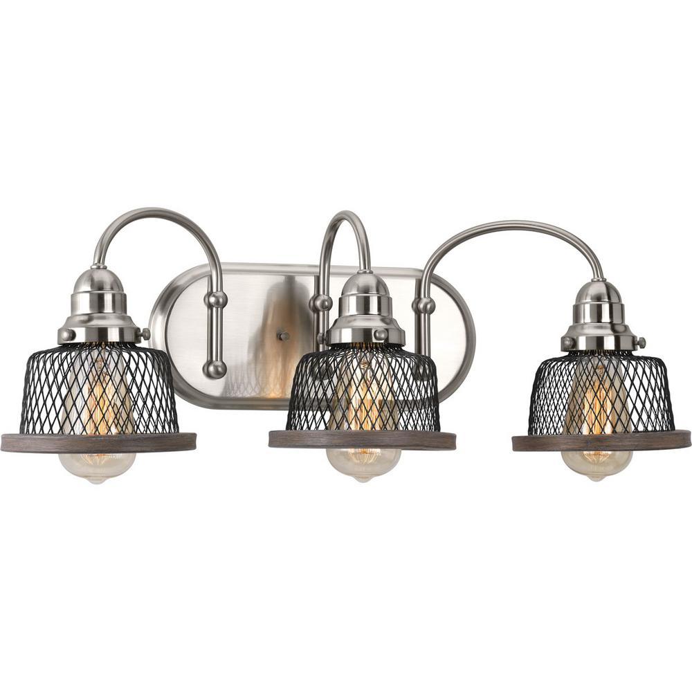 Progress Lighting Tilley Collection 3-Light Brushed Nickel Bathroom Vanity Light with Mesh Shades
