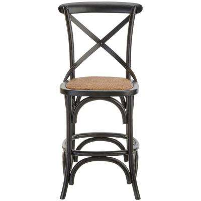 Black Counter Stool With Back And Cane Seat