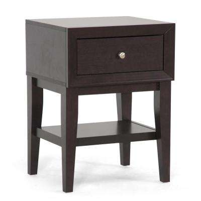Morgan 1-Drawer Dark Brown Nightstand