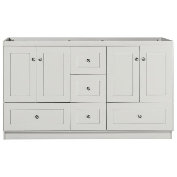 Shaker 60 in. W x 21 in. D x 34.5 in. H Bath Vanity Cabinet Only with Double Basins in Dewy Morning