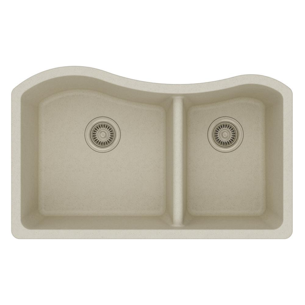 Elkay Quartz Classic Undermount Composite 33 In. Double Bowl Kitchen Sink  In Bisque