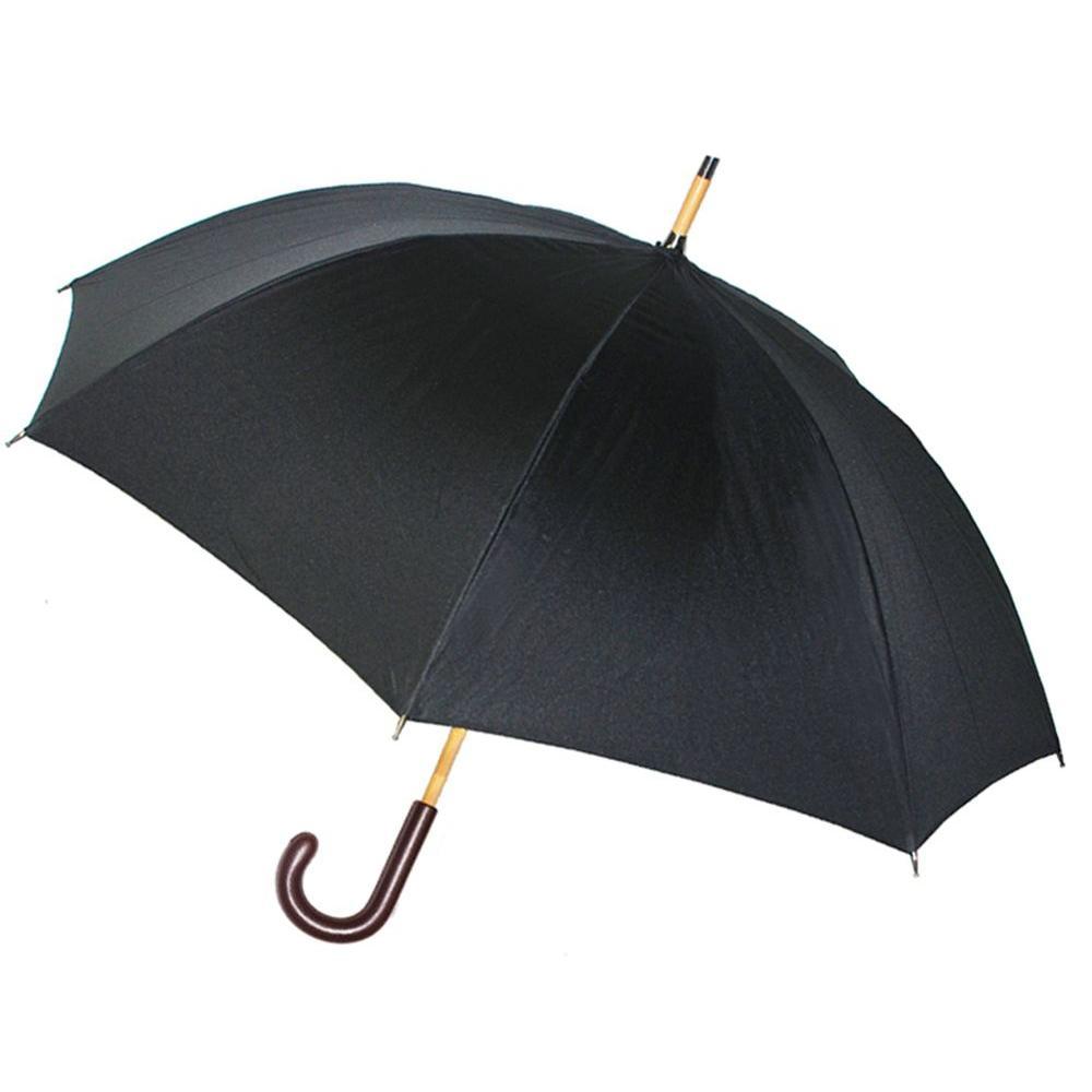 Kenlo 48 in. Arc Brown Leather Handle Stick Umbrella in Black