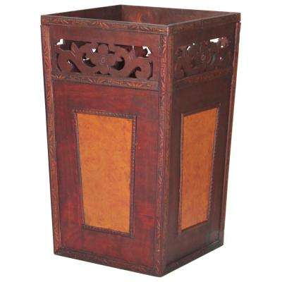 19.5 in. x 11.75 in. x 11.75 in. Handcrafted Wood and Faux Leather Wastebasket