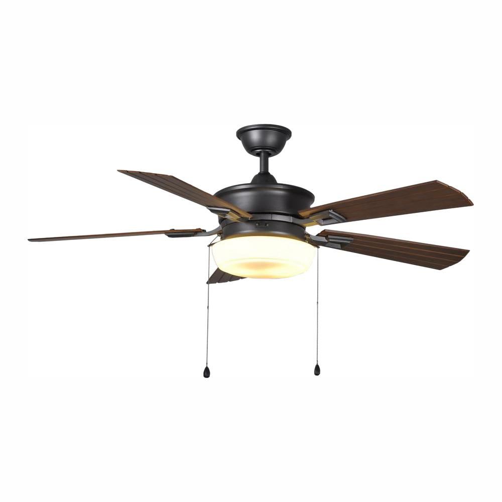 Home Decorators Collection Lake George 54 in. LED Indoor/Outdoor Natural Iron Ceiling Fan with Light Kit