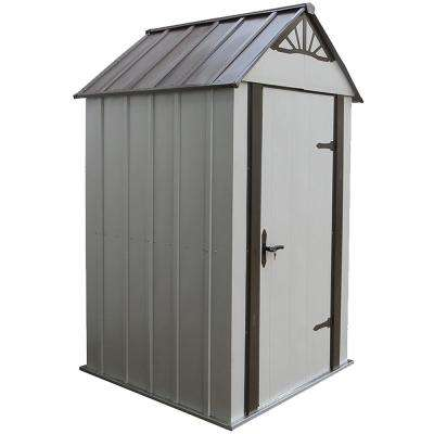 Metro 4 ft. x 4 ft. Java/Sand High Gable Galvanized Steel Storage Shed with Built-In Floor