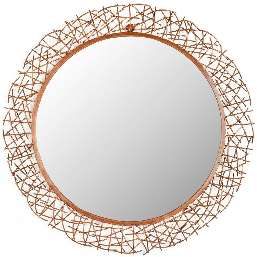 Safavieh Twig 28.3 in. x 28.3 in. Iron and Glass Framed Mirror ...