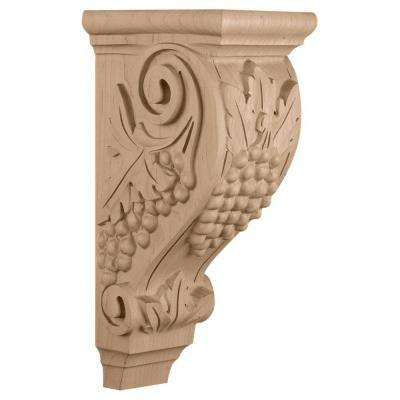 5 in. x 7-1/2 in. x 14 in. Mahogany Large Grape Corbel