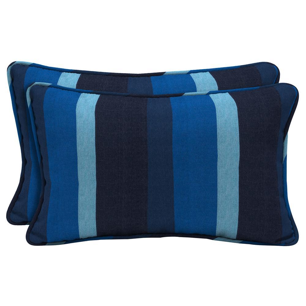 Home Decorators Collection Sunbrella Gateway Indigo Lumbar Outdoor Throw Pillow (2-Pack)