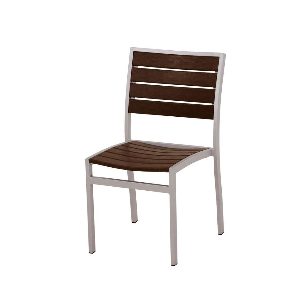 POLYWOOD Euro Textured Silver All Weather Aluminum/Plastic Outdoor Dining  Side Chair In Mahogany
