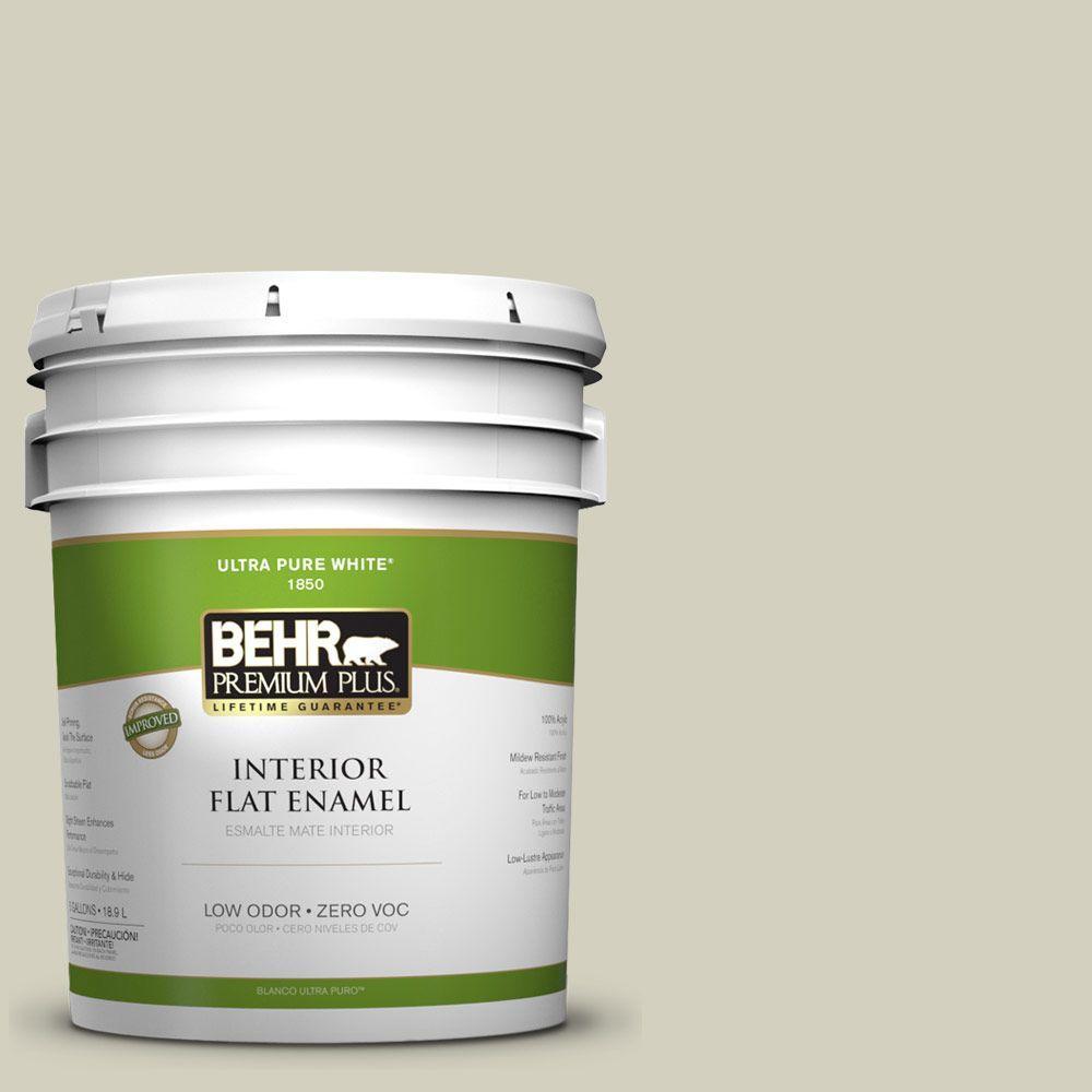 BEHR Premium Plus 5-gal. #PPF-14 Traditional Tan Zero VOC Flat Enamel Interior Paint-DISCONTINUED