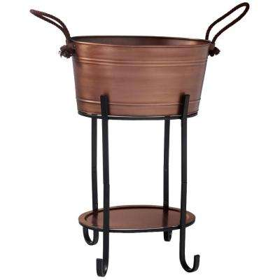 Oval Antique Copper Beverage Tub with Tray and Stand