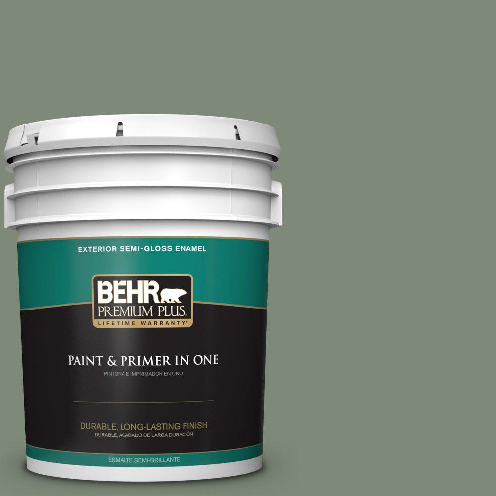 BEHR Premium Plus 5-gal. #450F-5 Amazon Moss Semi-Gloss Enamel Exterior Paint