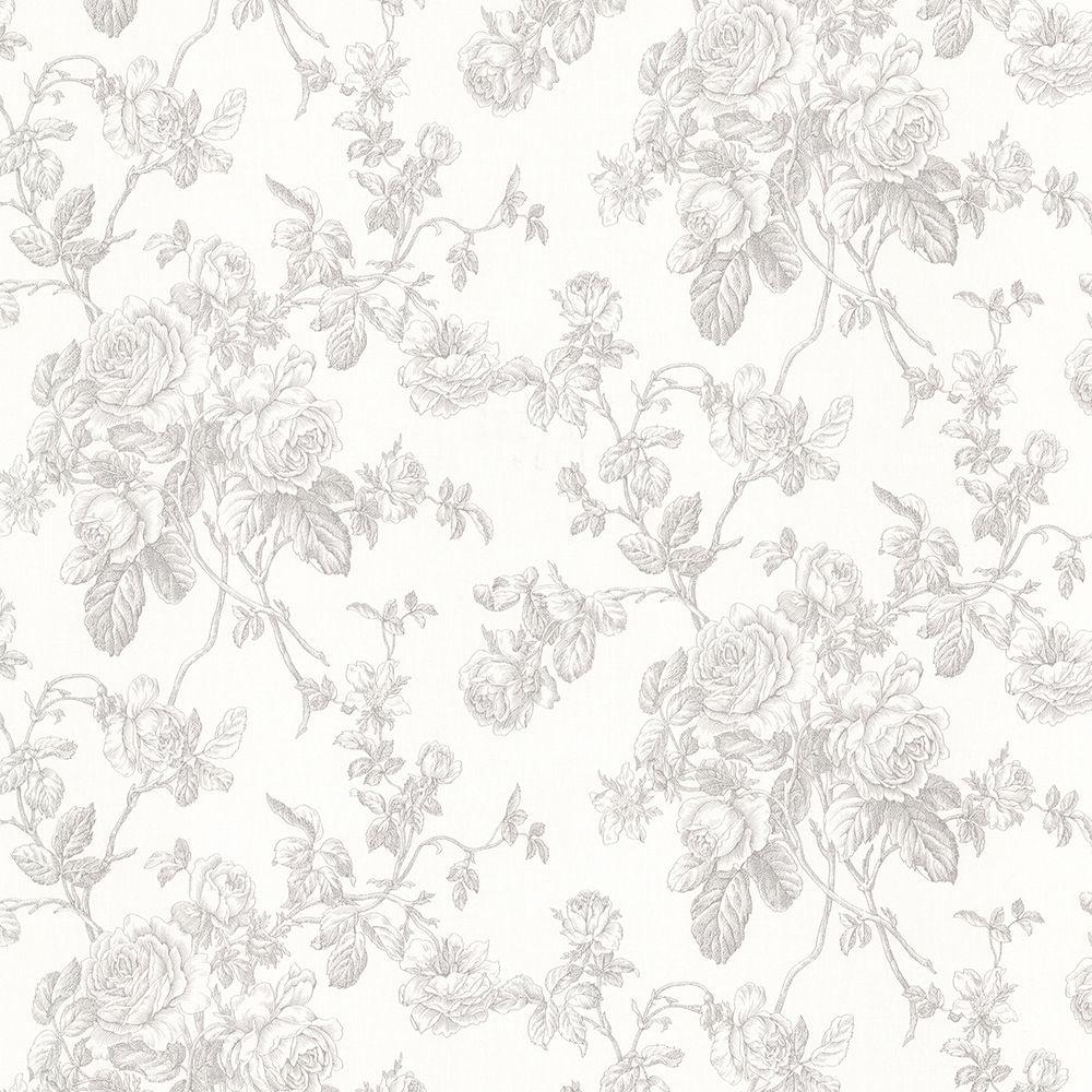 Brewster Annie Grey Floral Wallpaper 2686 21502 The Home Depot