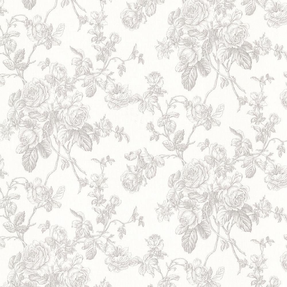 Brewster Annie Grey Floral Wallpaper Sample