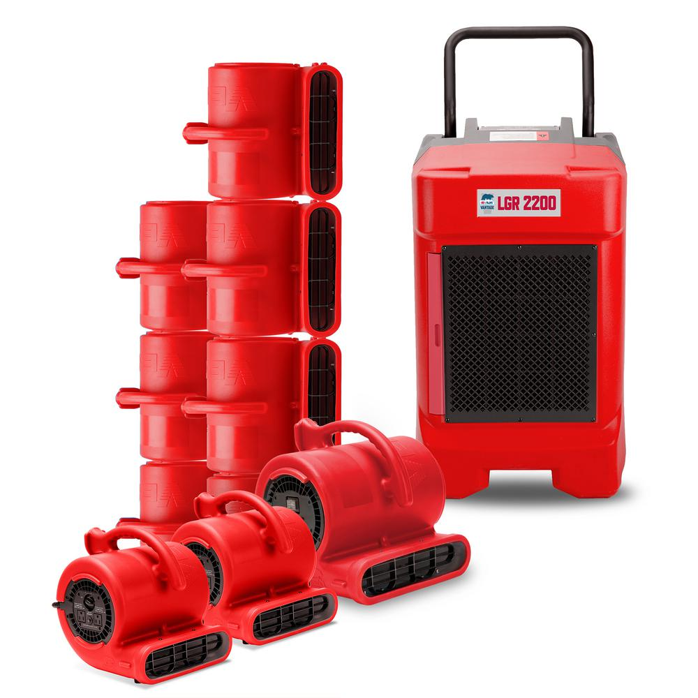 B-Air Water Damage LGR Commercial Dehumidifier 8 Air Mover 2 Mini Air Mover, Red These packs are designed with the water damage restoration professional in mind. Whether you are starting a new water damage restoration business or want to add to your already existing line of equipment, the B-Air Contractor Packs offer you a variety of combinations. This includes air movers, commercial dehumidifiers as well as air scrubbers with special value pricing. Color: Red.