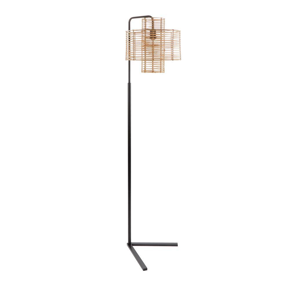 Cyndi 70 in. Black and Tan Hangover Floor Lamp