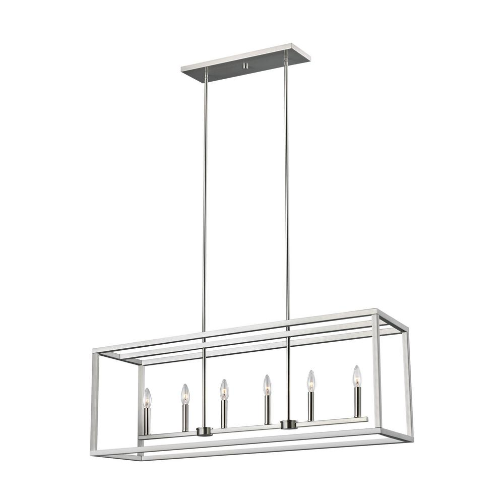 Sea Gull Lighting Moffet Street 6-Light Brushed Nickel Island Pendant with Dimmable Candelabra LED Bulb