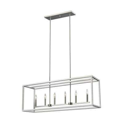 Moffet Street 6-Light Brushed Nickel Island Pendant with Dimmable Candelabra LED Bulb