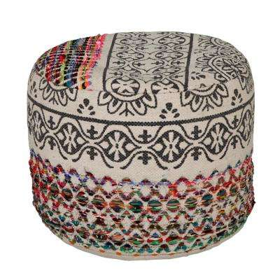 Authentic Floral Bohemian 18 in. x 14 in. Multi-Color Ottoman Pouf