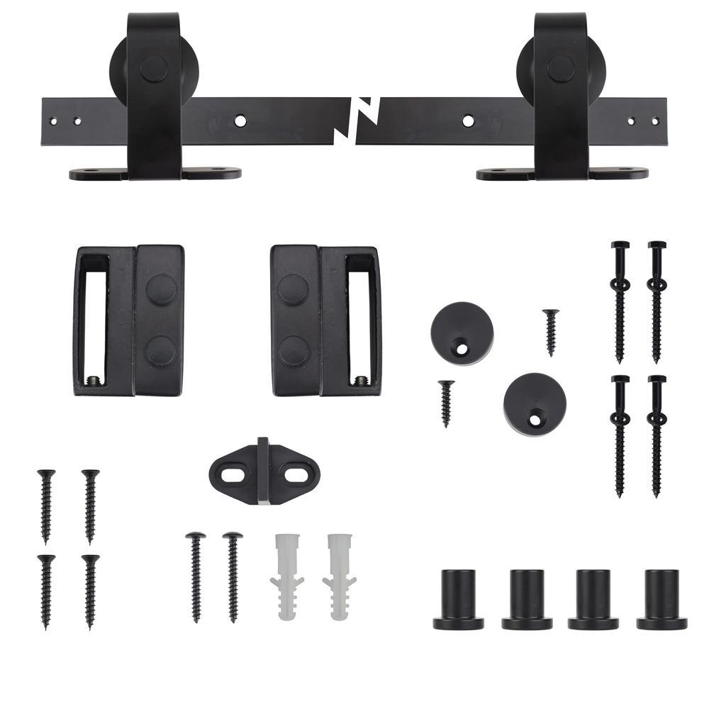 Everbilt 72 in. Black Top Mount Sliding Barn Door Track and Hardware Kit