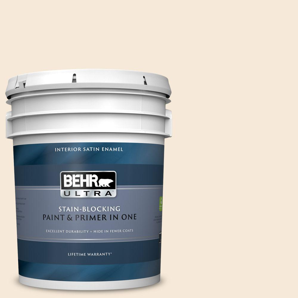 Behr Ultra 5 Gal Home Decorators Collection Hdc Ct 02 Garden Rose White Satin Enamel Interior Paint Primer 775005 The Home Depot