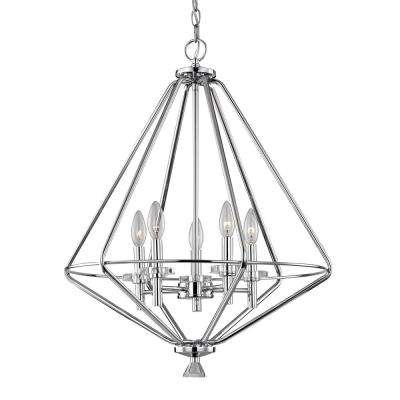 5-Light Polished Chrome Pendant with Crystal Accents