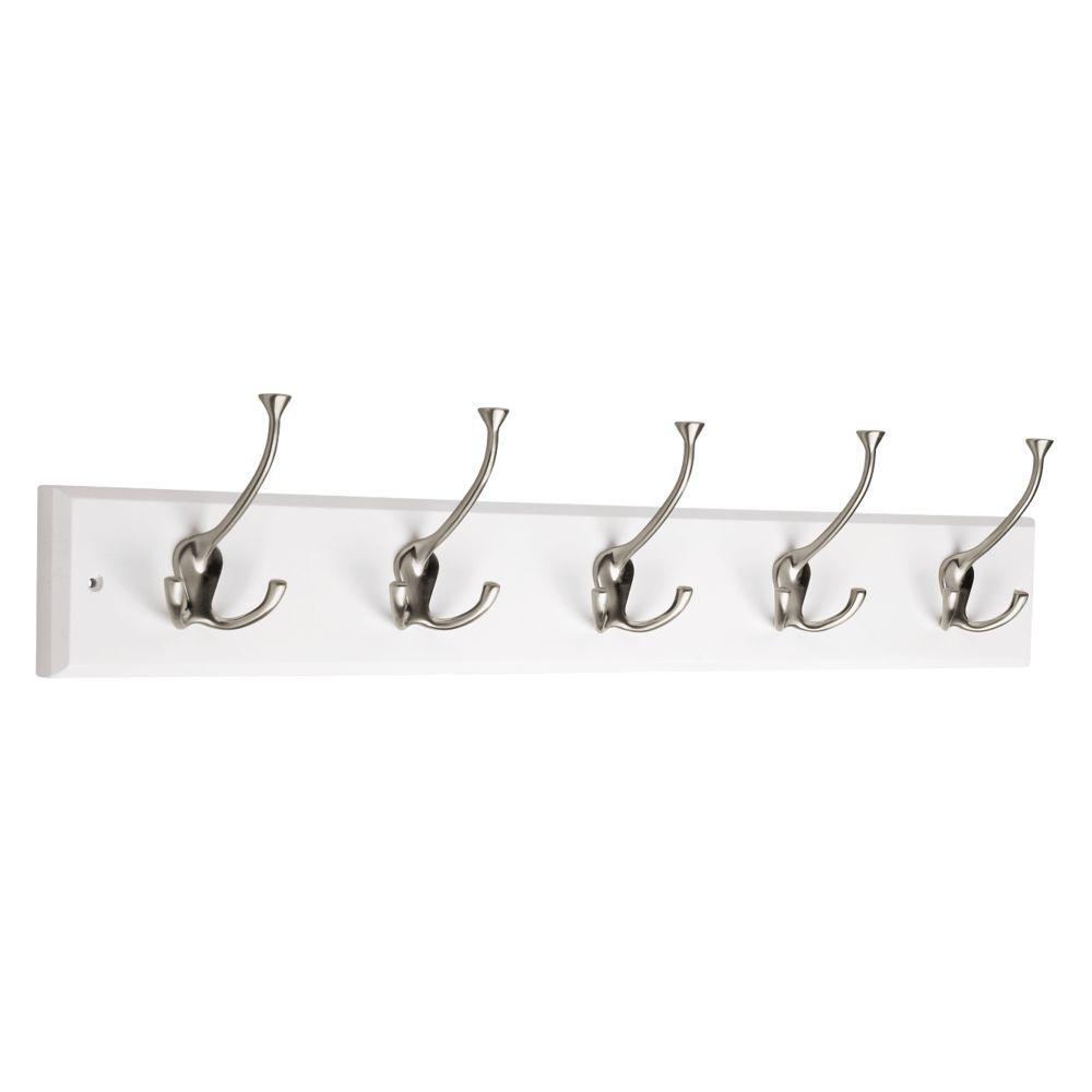 27 in. White and Satin Nickel Tri-Hook Rack