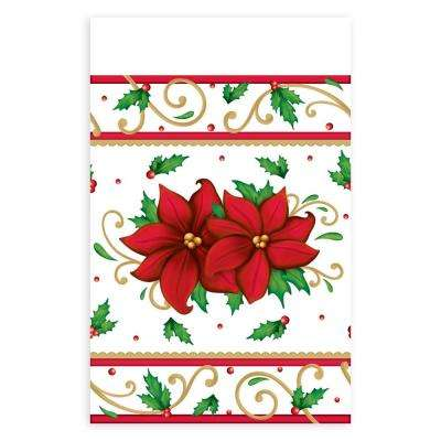 84 in. x 54 in. Winter Botanical Rectangular Plastic Table Cover (3-Count, 2-Pack)