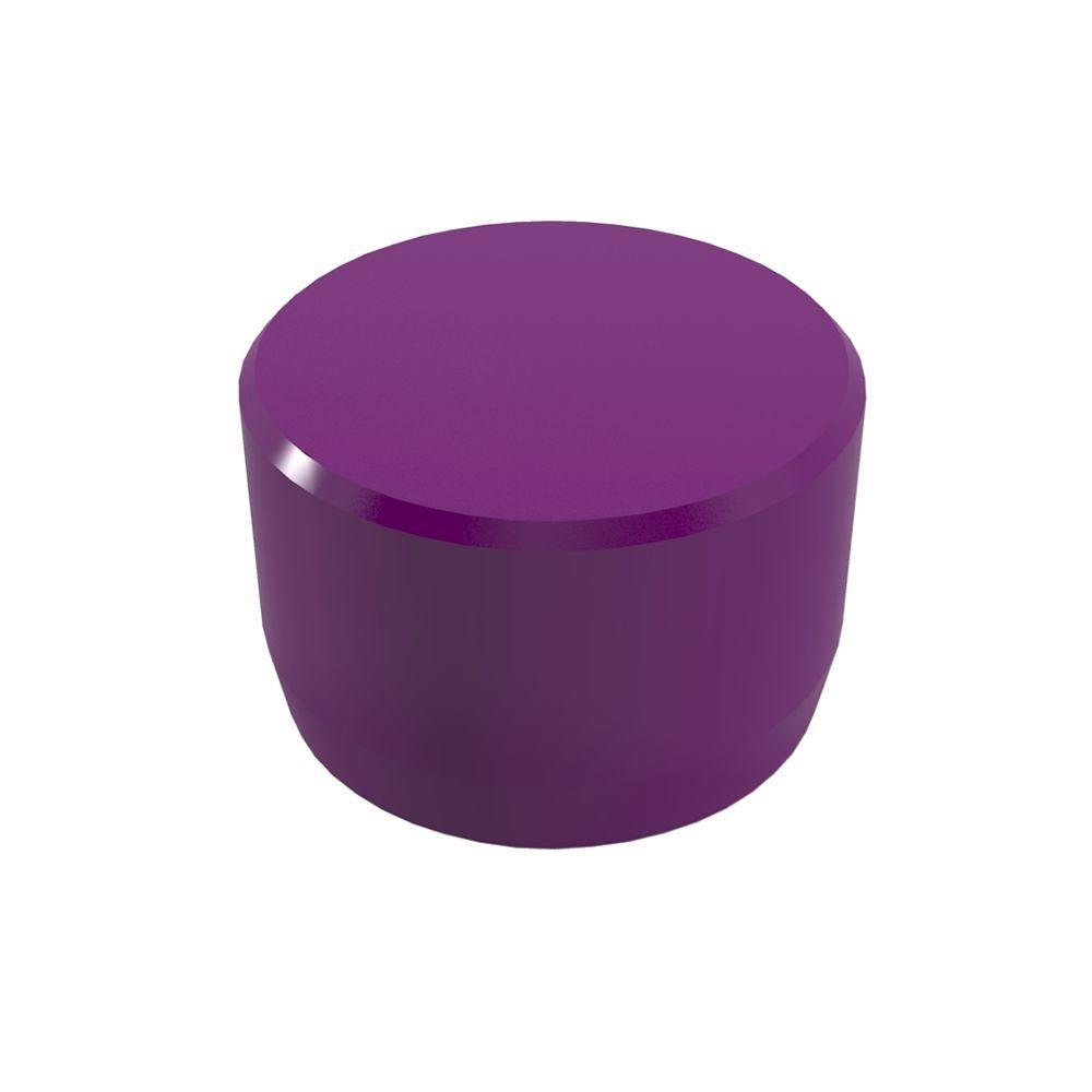 1 in. Furniture Grade PVC External Flat End Cap in Purple