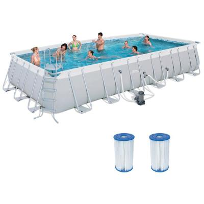 4 ft. x 12 ft. Above Ground Pool Set with Ladder Pump and Cartridges (2-Pack)