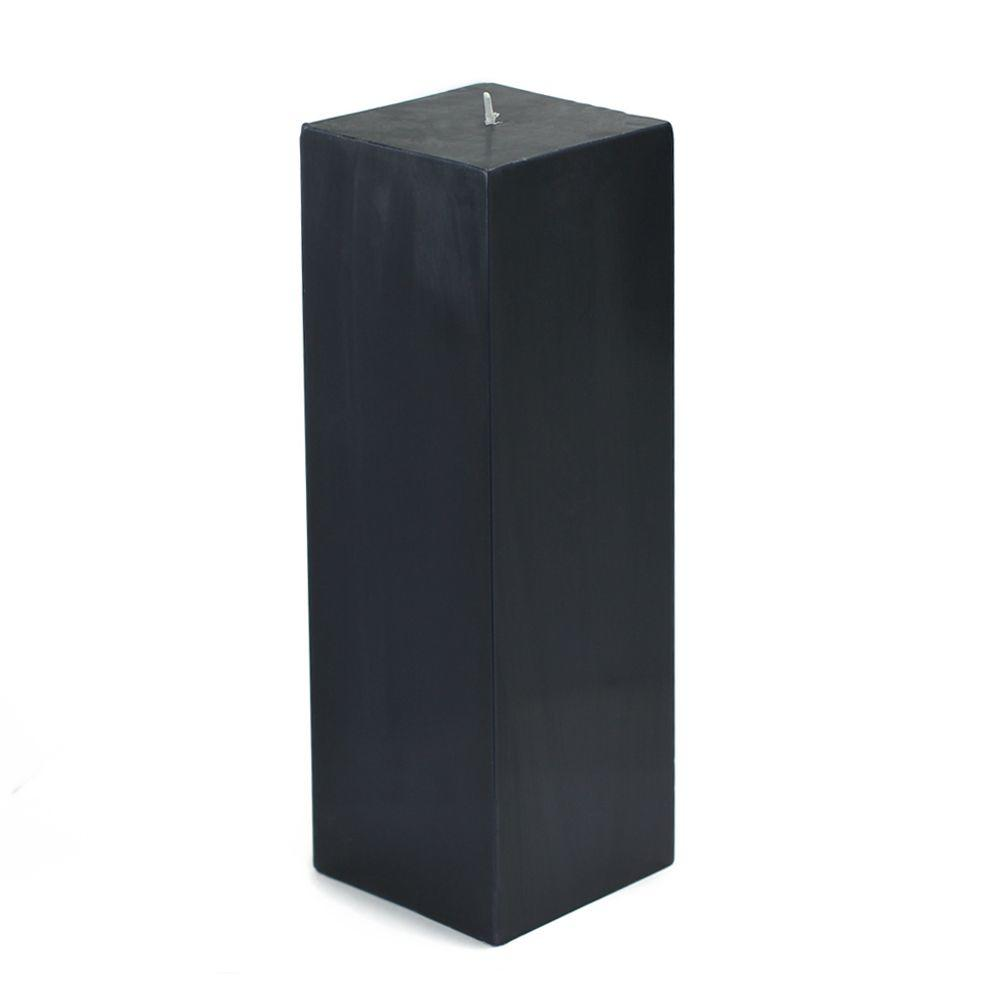 3 in. x 9 in. Black Square Pillar Candle Bulk (12-Box)