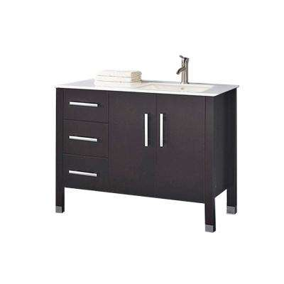 Moselle 40 in. W x 22 in. D x 36 in. H Right Side Sink Vanity in Espresso with Microstone White Top with White Basin