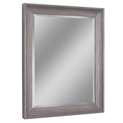 27 in. W x 33 in. H Transitional Driftwood Wall Mirror in Light Grey