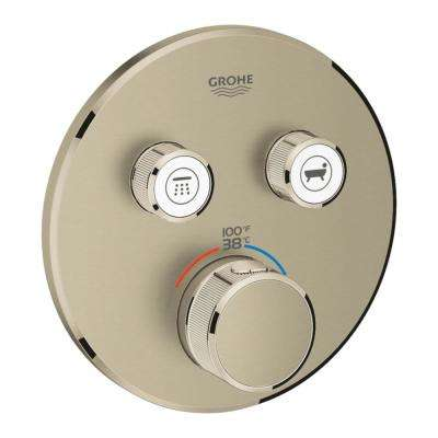 Grohtherm Smart Control Dual Function Round Thermostatic Trim with Control Module in Brushed Nickel