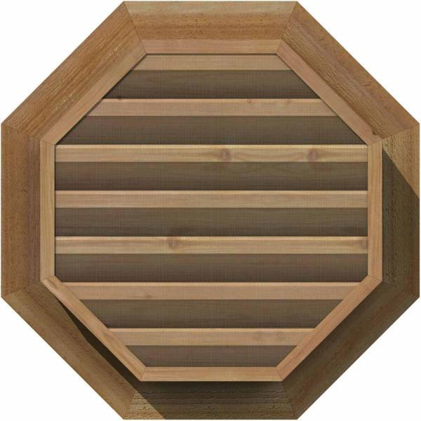 Ekena Millwork 17 X 17 Octagon Unfinished Rough Sawn Western Red Cedar Wood Paintable Gable Louver Vent Functional Gvwoc12x1200rfuwr The Home Depot