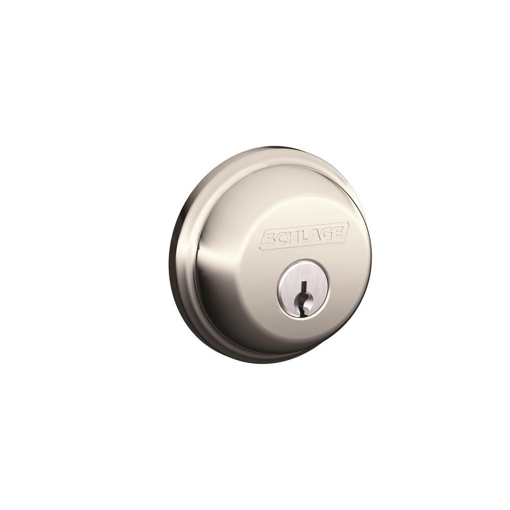 B60 Max Sec Single Cylinder Deadbolt Adjustable Backset in Satin Nickel