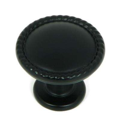 Newport 1-1/4 in. Matte Black Round Cabinet Knob (10-Pack)