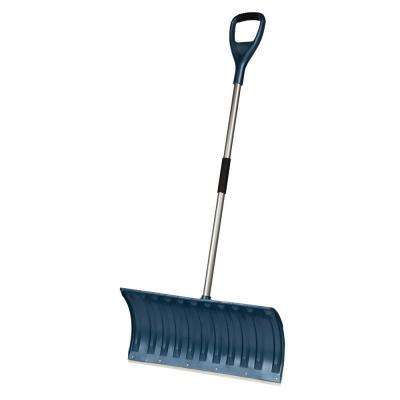 Bigfoot Series 25 in. Lightweight Poly Pusher Snow Shovel with Aluminum Handle and Shock Absorbing D-Grip
