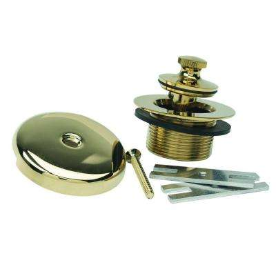 Lift & Turn Drain Kit with One Hole Faceplate, 1.5 in. IPS Coarse Thread, Bracket and Screw in Polished Brass