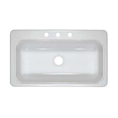 Style SB Drop-In Acrylic 33x19x8.25 in. 3-Hole Single Bowl Kitchen Sink in White